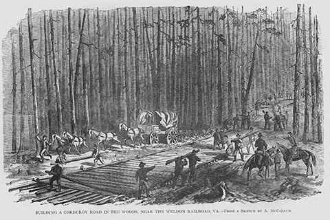 Building a Corduroy Road near Weldon, Virginia