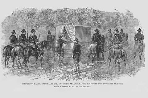 Jefferson Davis arrested & Taken to Fortress Monroe