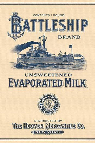 Battleship Brand Unsweetened Evaporated Milk