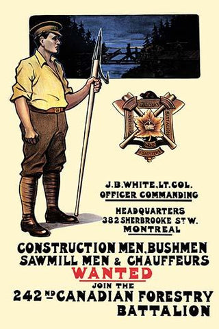 Construction men, bushmen, sawmill men & chauffeurs Wanted