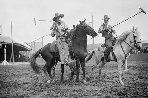 Wild West Polo Played by Cowboys on Horses at Coney Island