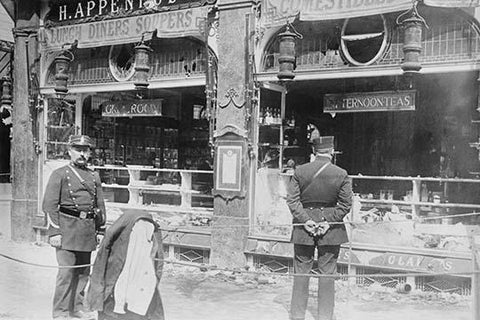 Parisian Police Look at German Shops Ransacked by Mob