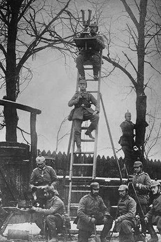 German Unit of Field Observers on ladders and with binoculars