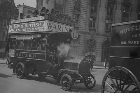 Omnibus on London Thoroughfare carries Advertisements for Japanese British Exhibition