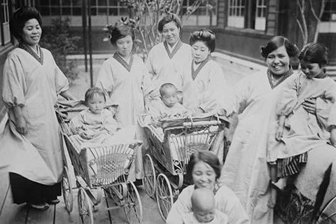 Japanese Mothers with their infants in Perambulators or Baby Carriages