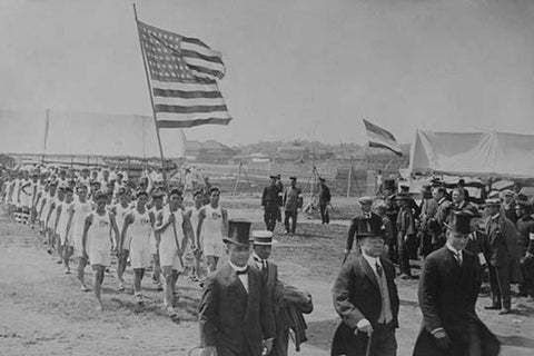 American & Filipino Athletes March Behind Japanese Dignitaries