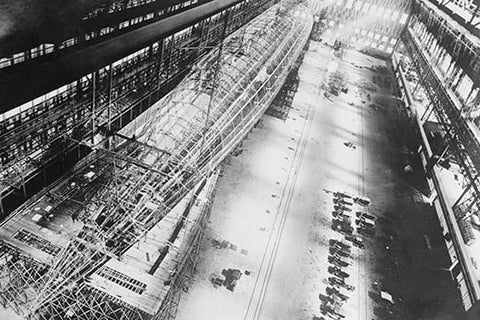 Skeleton of U.S. Navy Dirigible ZR-1 in Factory
