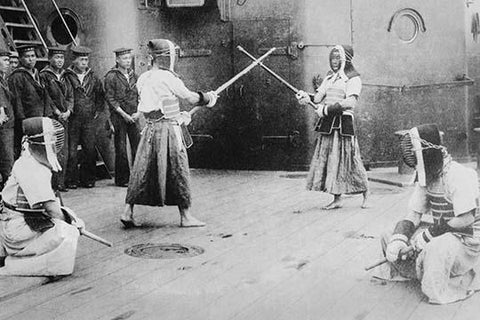 Japanese Sailors Fencing on Board Ship