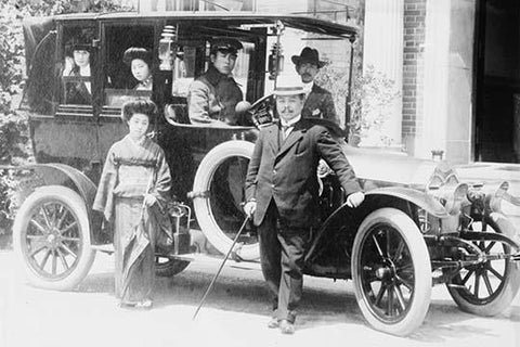Japanese Family poses with the vehicle in Beijing, China