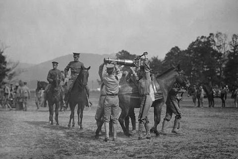Army Cadets Lift Large Artillery Piece from a Horse