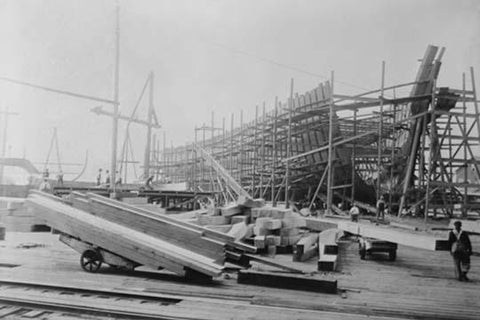 Construction of Wooden Ribbed Ship in Peninsula Yard, Portland, Oregon