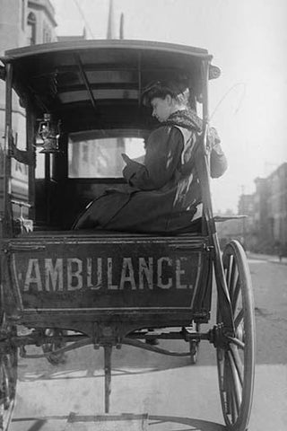 Dr. Elizabeth Bruyn sits in the rear of her Horse Drawn Ambulance