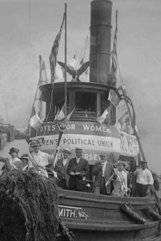 Suffragettes Take to the River in a Tug Boat to Post Banners in Search of Equality