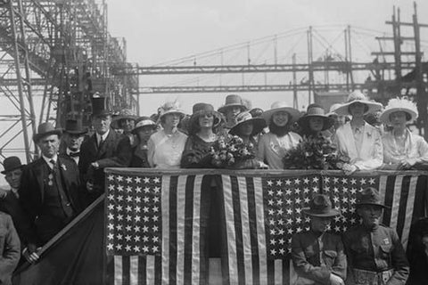 FDR attends launch of the Battleship Tennessee as Secretary of the Navy