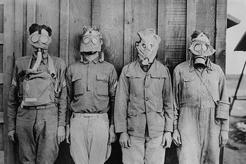 English, German, French and American don their gas mask styles in World War I lineup