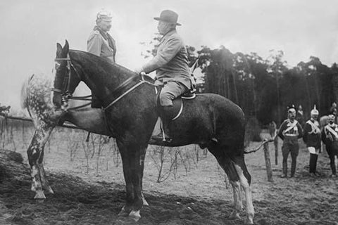 Theodore Roosevelt Greets the German Kaiser, both on horseback in Germany