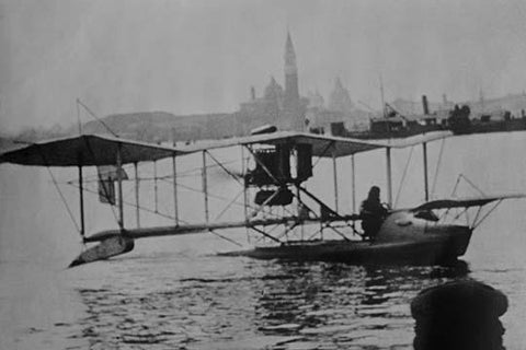 Biplane Land in the Canals of Venice; Captain Ginocchio's Airplane