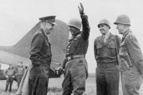 Eisenhower as Supreme Allied Commander meets with Patton, Clark & Bradley