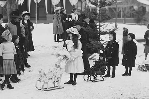 Midwinter carnival, children's parade, doll sleds