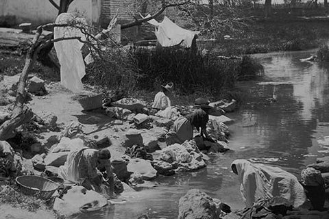 Washing Clothing at Hot Springs in Mexico
