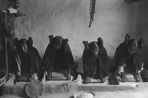 Hopi Women Knead Dough