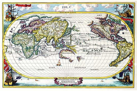 Navigationes Precipae Europorum ad Exteras Nationes; Navigational Map of the World