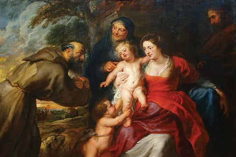 The Holy Family with Saints Francis & Infant St. John the Baptist