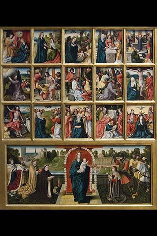 Fifteen Mysteries and the Virgin of the Rosary