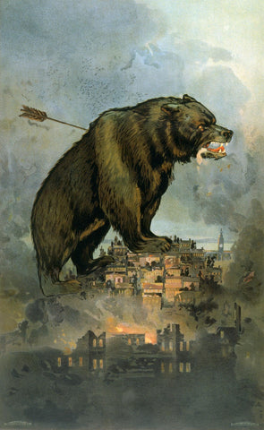 Grizzly bear over San Francisco, 1906