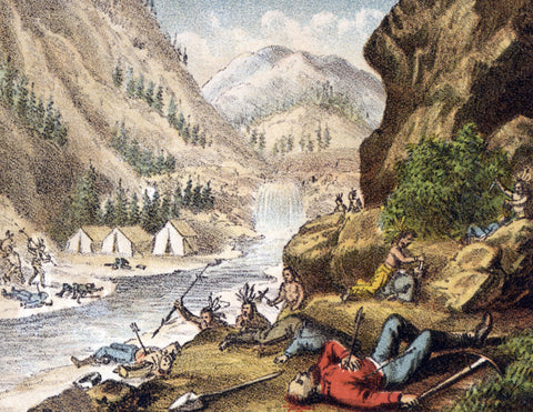 Indian attack miners' on the river