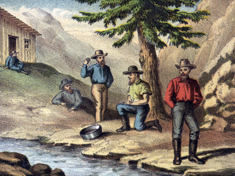 Miners' relaxing by a stream