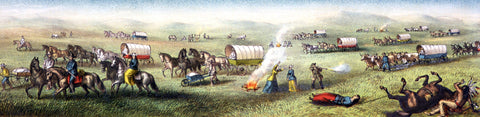 Indian attack on a wagon train