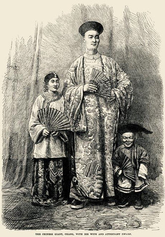 The Chinese giant, Chang, with his wife and attendant dwarf