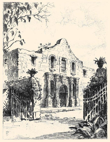 Etching of the Alamo