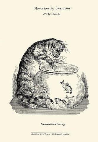 A cat pawing at goldfish in a bowl