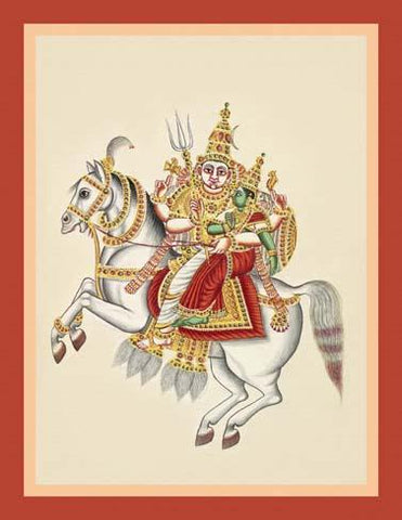 Khanderao and his consort Mhalsa ride a white horse