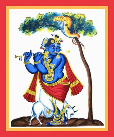 Blue-complexioned Krishna plays the flute