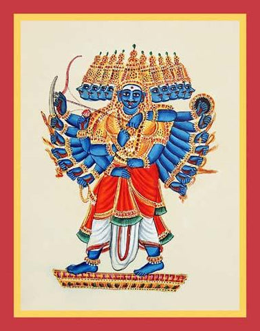 Rava?a with ten heads and twenty arms