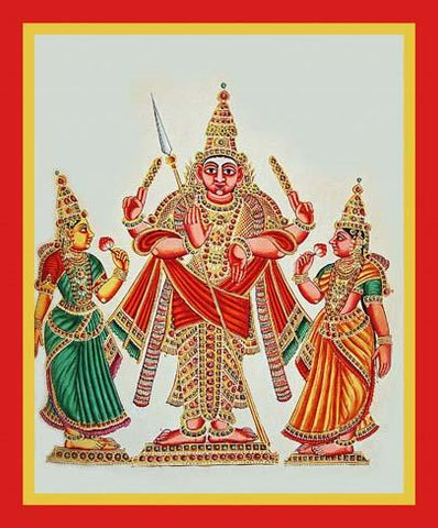 Subrahmanya flanked by the goddess Devasena and Vall