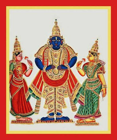 Vithobastands flanked by his two consorts