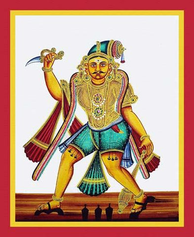 Kattavarayan wearing padukas (wooden clogs)