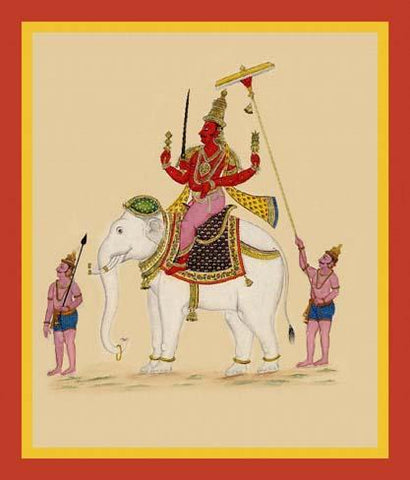 Indra, guardian of the east, rides on his elephant