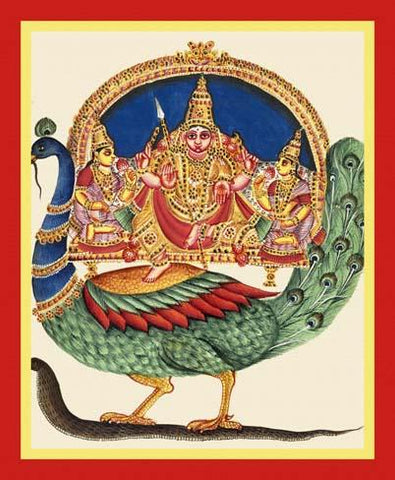 Subrahmanya, Valli and Devasena on the back of a peacock