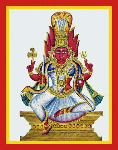 Four-armed Mariamman sits on a dais