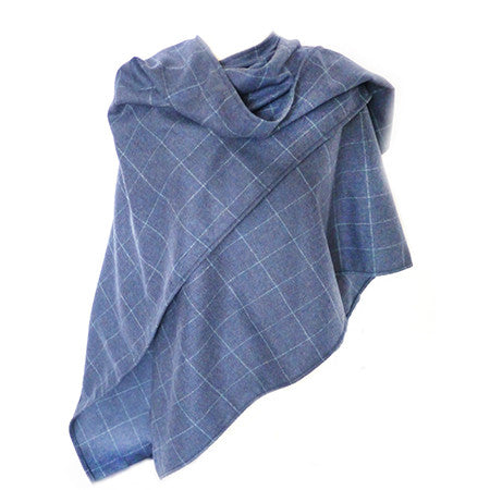 Lambswool Wrap - Blue Check