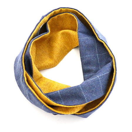 Loop Scarf - Blue Check Lambswool