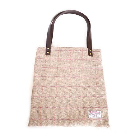 Leather Tote Bag - Pink Check