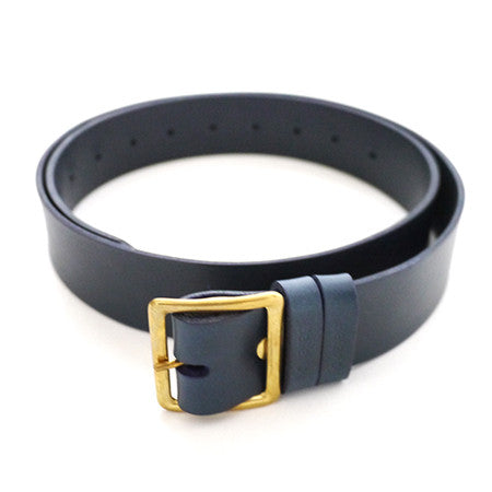 Leather Belt - Navy