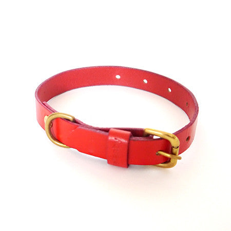Dog Collar - Red Leather