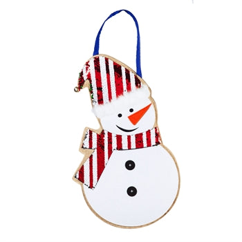 Snowman Reversible Sequin Door Decor